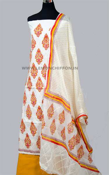 Yellow and White Cotton Applique Suit