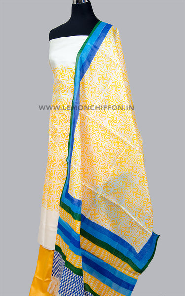 Yellow Tussar Silk Suit
