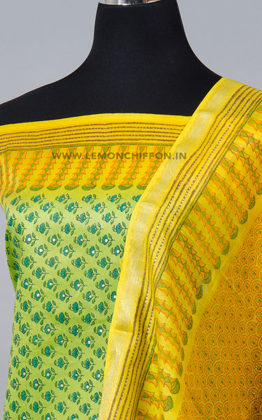 Green and Yellow Block Printed Cotton Silk Suit