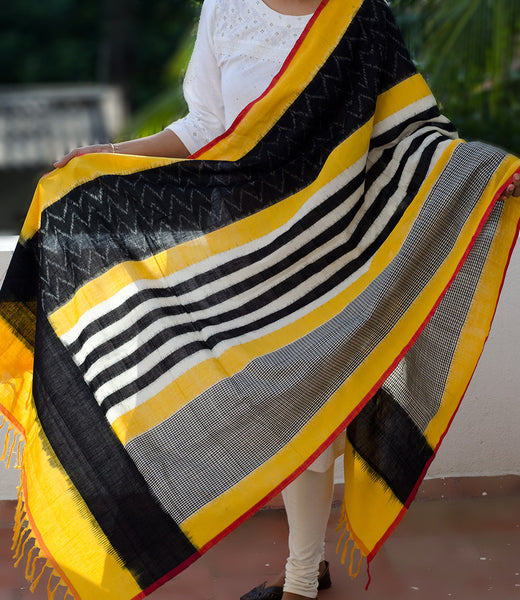 Handwoven Cotton Ikat Dupatta