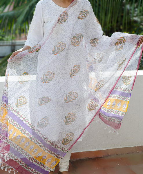 Block Printed Cotton Dupatta