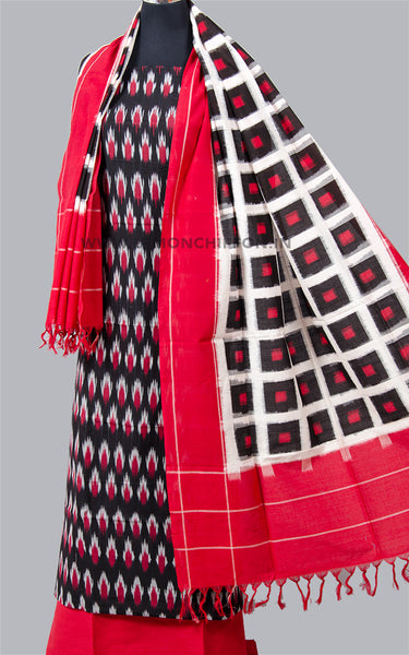 Black and Red Mercerised Ikat Suit