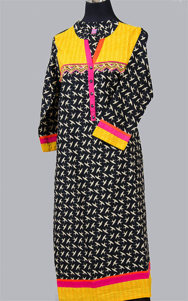 Black and Yellow Cotton Kurta