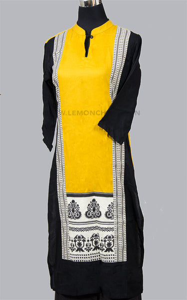 Yellow & Black Printed Cotton Kurta