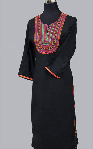 Black Embroidery Cotton Kurta