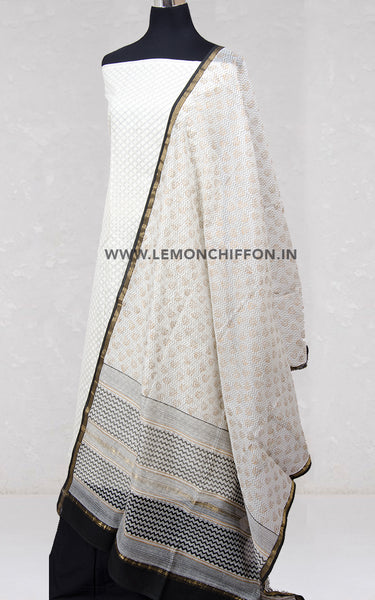 Black and White Chanderi Printed Dupatta & Cotton Suit