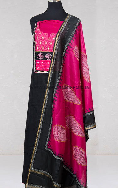 Black and Pink Cotton Suit