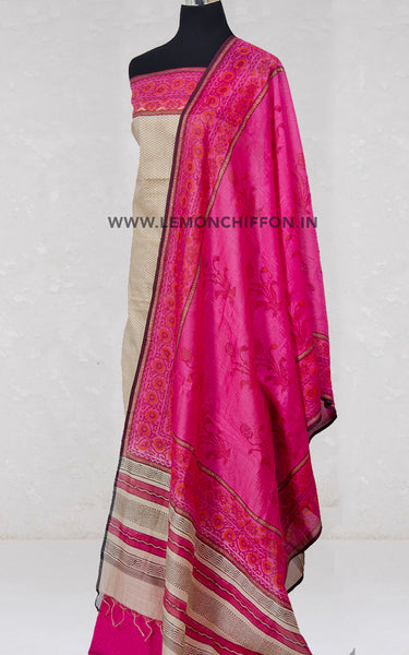 Beige and Pink Cotton Silk Suit
