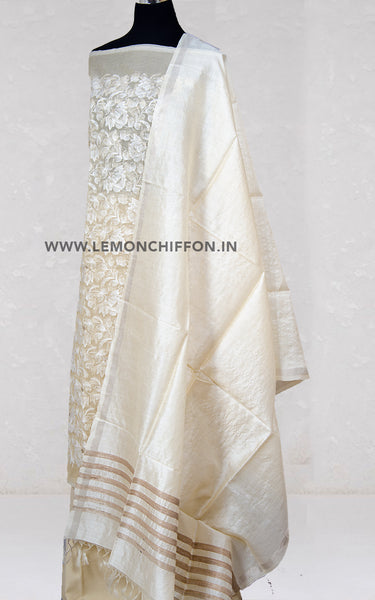 Beige Embroidery Silk Suit