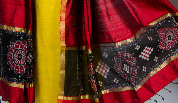 Yellow-Red Silk Suit Set