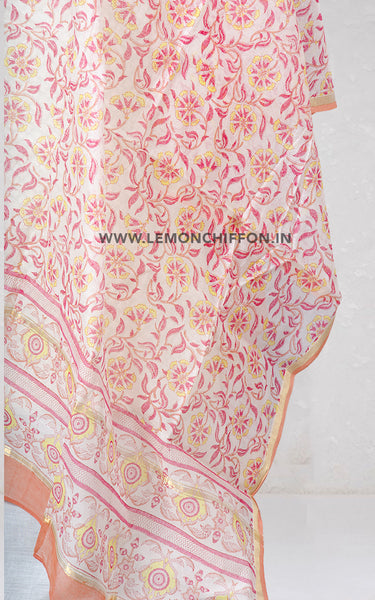 Cotton Silk Hand Block Printed Dupatta