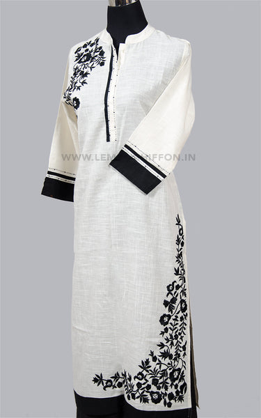 White & Black Embroidery Cotton Kurta