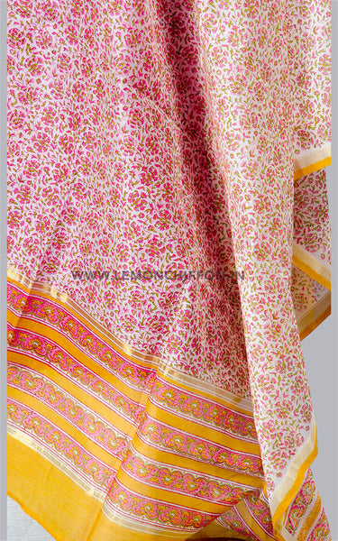 Silk Cotton Chanderi Printed Dupatta & Tussar Suit