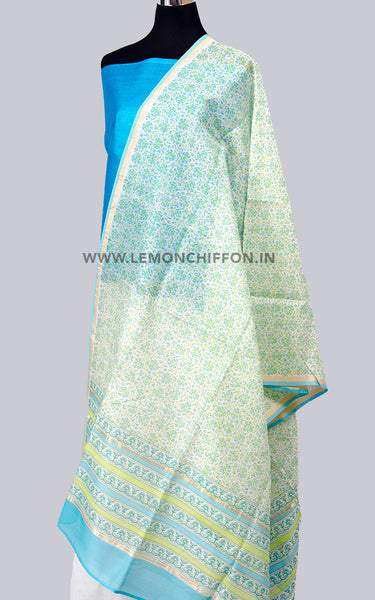 Blue & White-Silk Cotton Chanderi Printed Dupatta & Tussar Suit