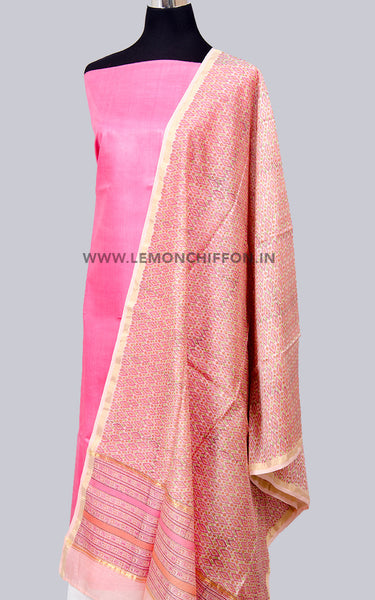 Pink and Peach Silk Cotton Chanderi Printed Dupatta & Silk Suit