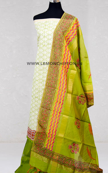 Green Printed Cotton Suit