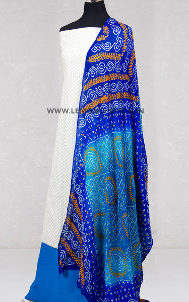 Blue and White Bandhani Set