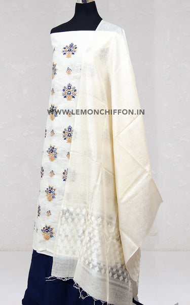 Embroidered White Cotton Suit