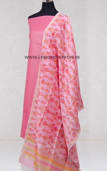 Pink Silk Cotton Chanderi Printed Dupatta & Cotton Suit