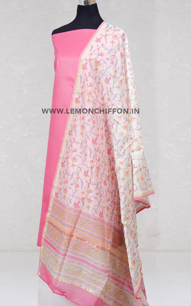White & Pink Silk Cotton Chanderi Printed Dupatta & Cotton Suit