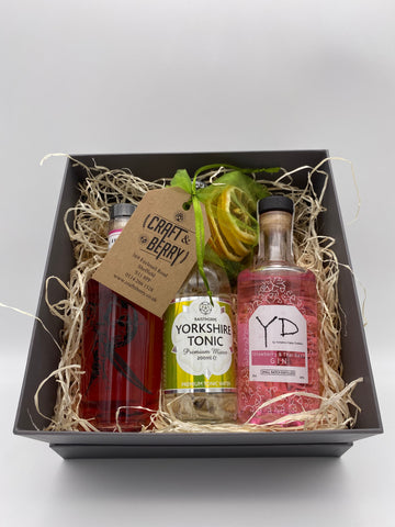 Gin Gift Set - Flavoured (2) 2x 20cl 1x 200ml Tonic & Dehydrated/dried fruit garnish