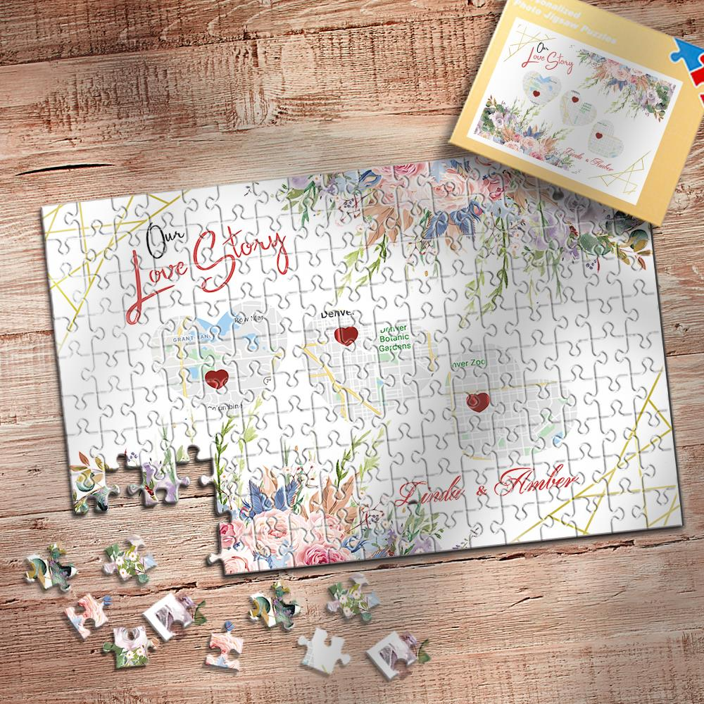 Personalised Map Puzzle Love Story Jigsaw