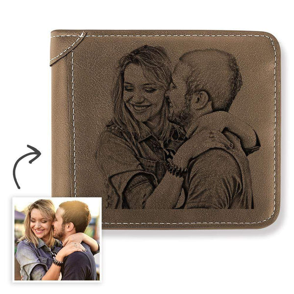 Custom Engraved Photo Wallet Romantic Style Father's Gift Bifold Short Wallet