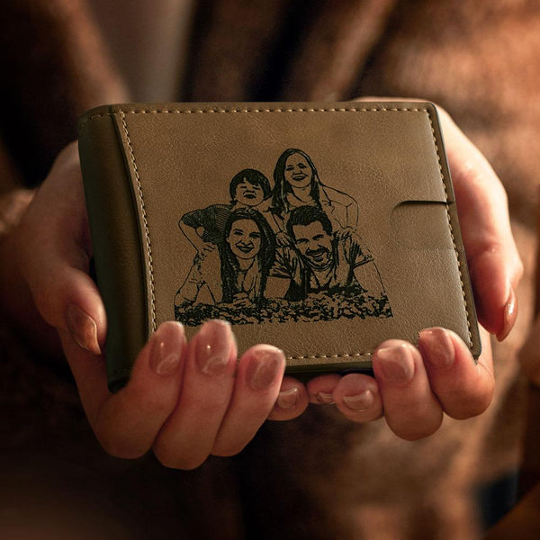 Engraved Wallet Photo On Personalised Leather Wallet RFID Blocking Australia