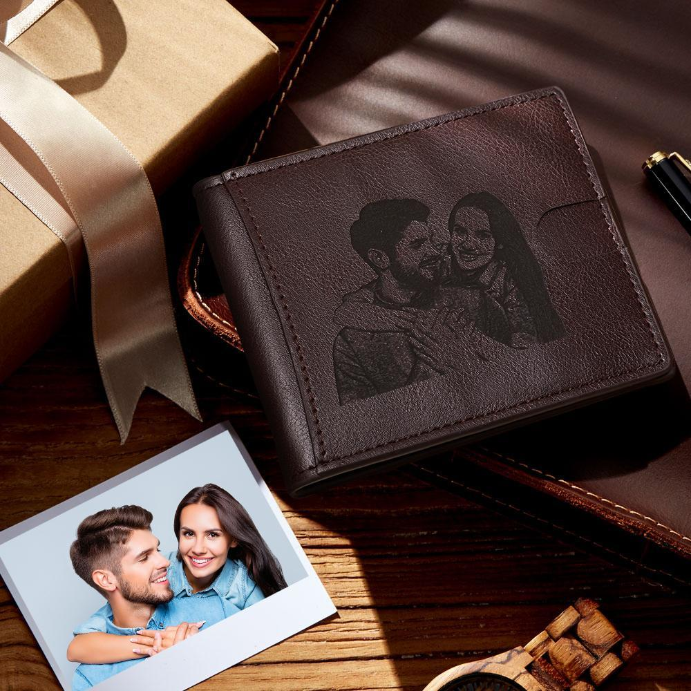 Engraved Wallet Photo On Leather Wallet RFID Blocking