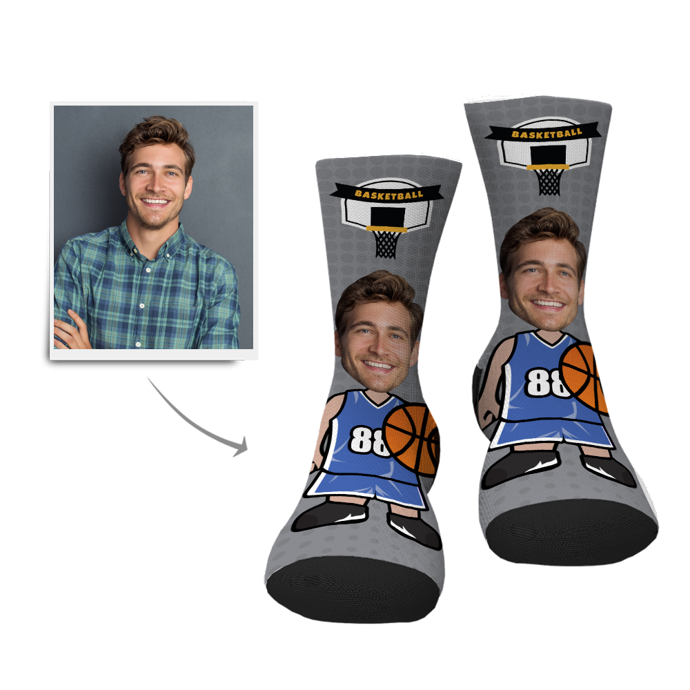 Father's Day Gift Personalized Face Socks - Basketball Player - MyJigsawPuzzleAu