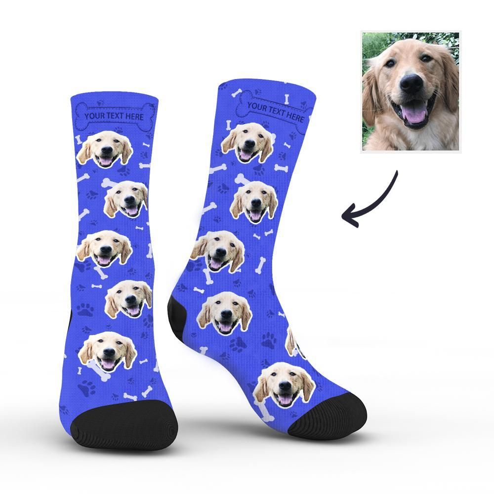 Custom Rainbow Socks Dog With Your Text - Blue -Put Face On Socks