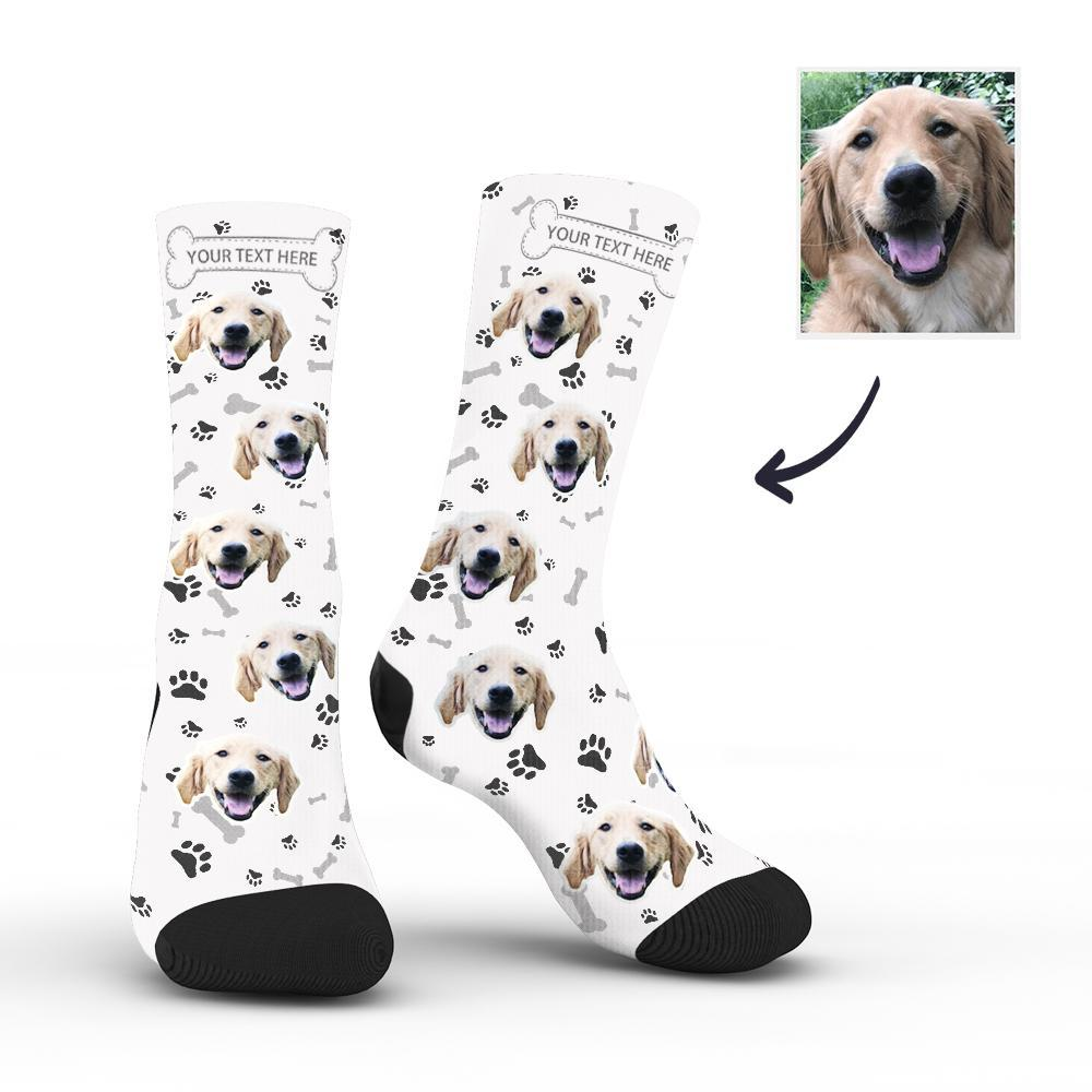 Personalised Face Socks Dog With Your Text - White