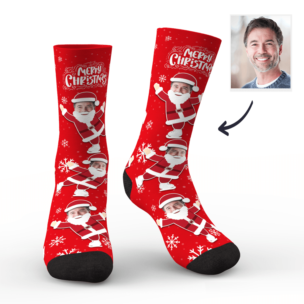 Custom Socks Face on Santa Claus's Body
