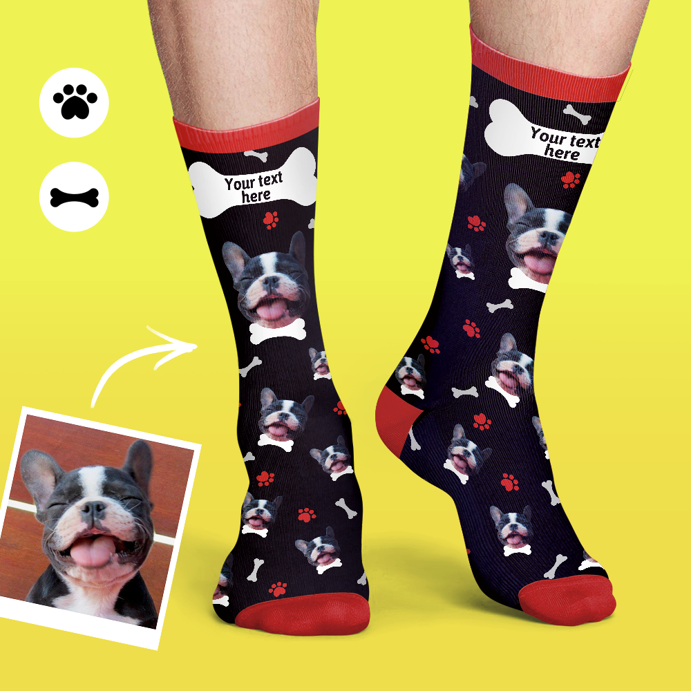 Personalised Dog Face&Name Socks Soft And Comfortable Pet Socks - Black