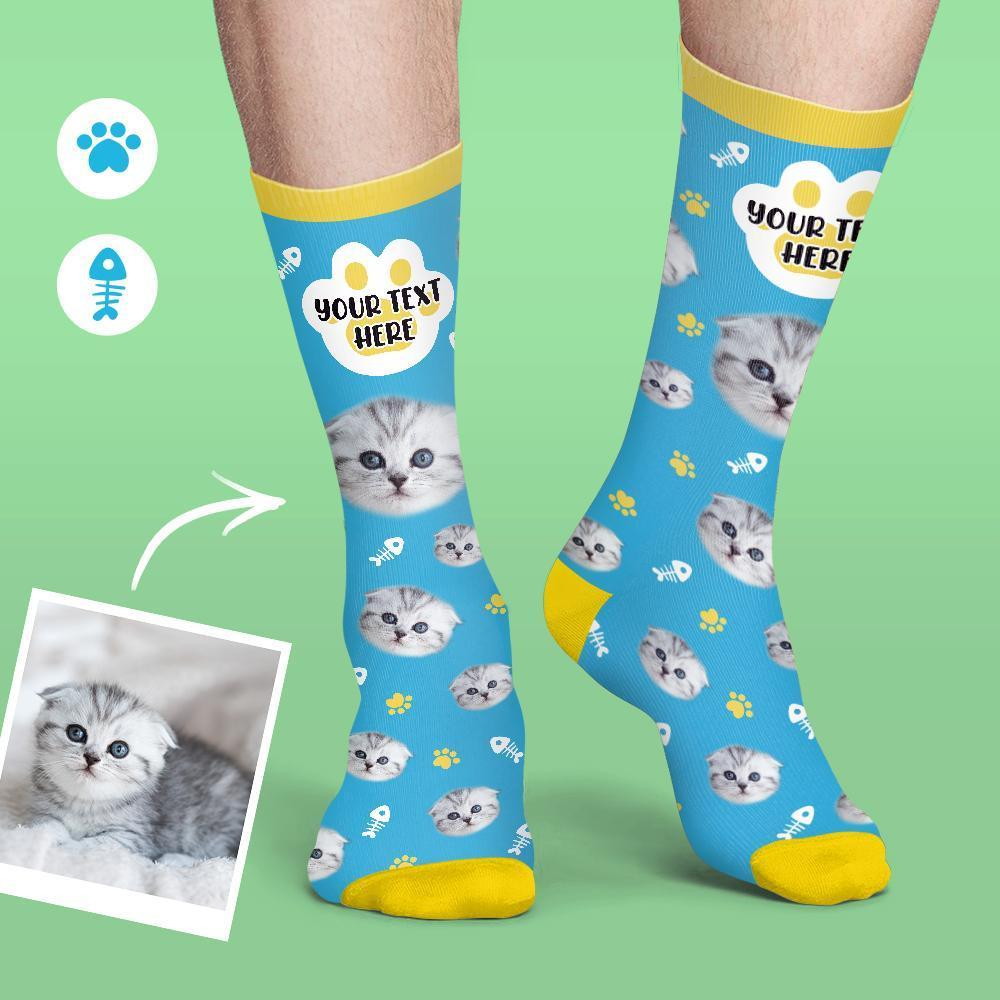 Custom Socks Cat Face And Name Socks Soft And Comfortable Pet Socks