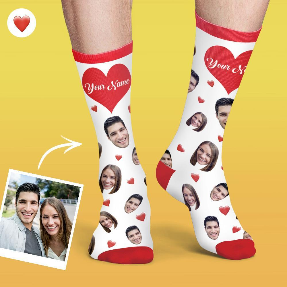 Personalised Face And Name On Socks Heart