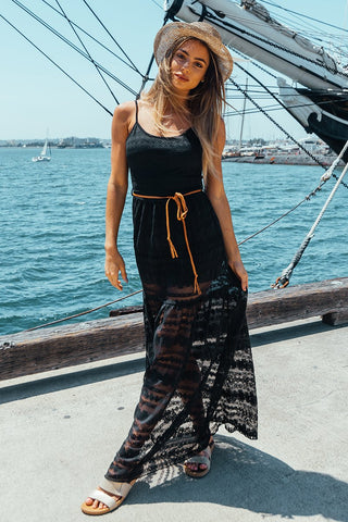 Black Rylee Lace Maxi Dress