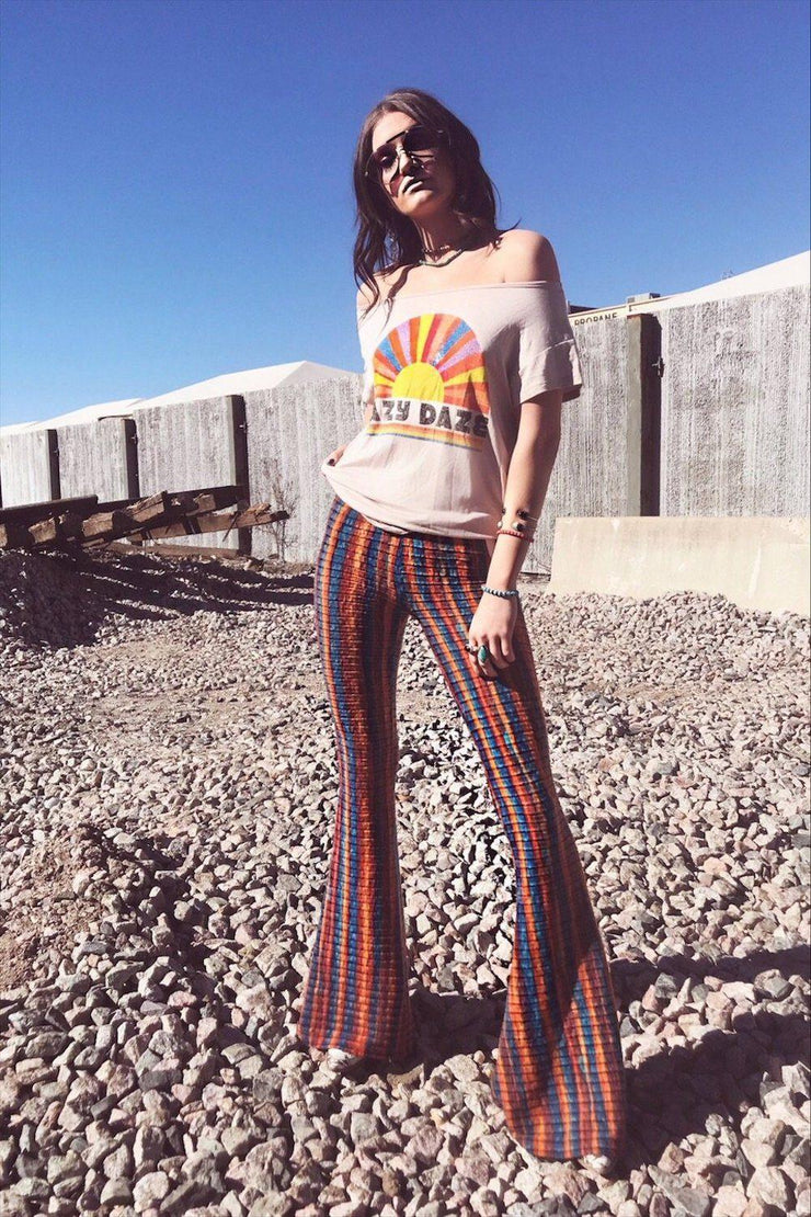 Rainbow flare bell bottoms featured