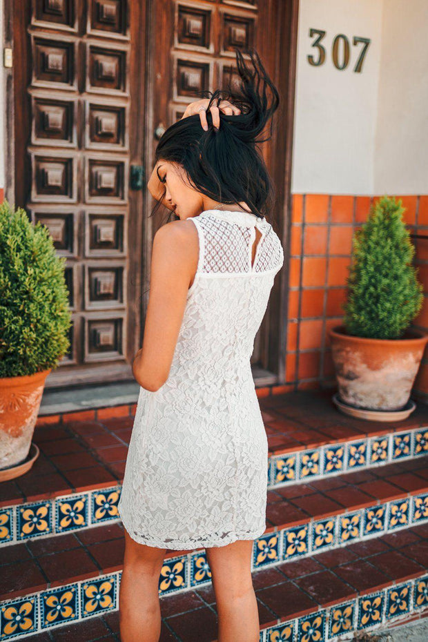 April Square-Neck Lace Dress