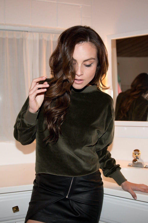 Hunter Green Velour Sweatshirt