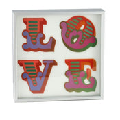 Framed Silver Love Lenticular Postcard - White 1 By Ben Eine