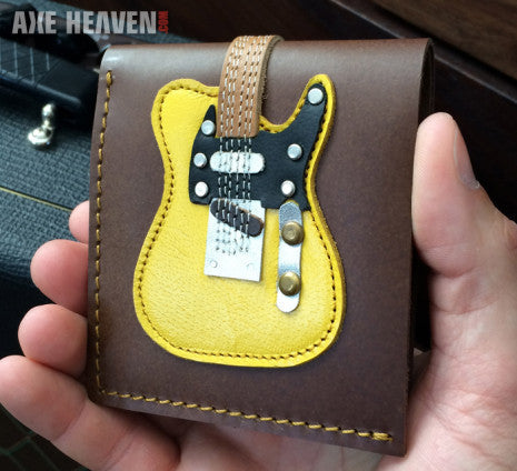 Classic Blonde Electric Guitar Wallet - Handmade from Genuine Leather