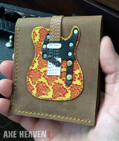 Red Embossed Paisley Electric Guitar Wallet - Handmade from Genuine Leather