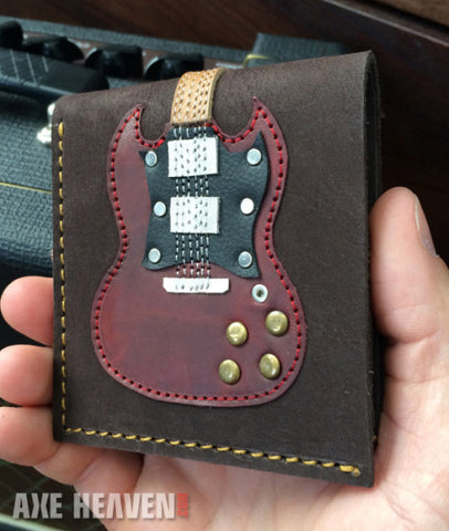 Double Cutaway Electric Guitar Wallet - Handmade from Genuine Leather