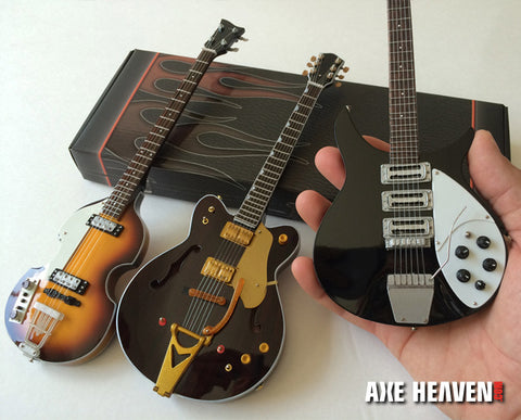 Ed Sullivan Fab Four Set of 3 Classic Miniature Guitar Replica Collectibles