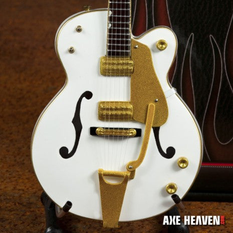 Brian Setzer Signature White Hollow Body Miniature Guitar Replica Collectible