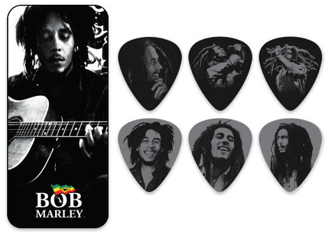 Marley Silver Portrait Series - Medium Pick Tin - w/ 6 Collector Picks