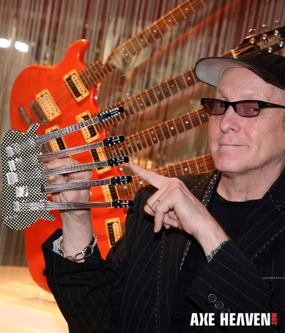 RICK NIELSEN™ Five-Neck Checkered Mini Guitar Replica Collectible - Officially Licensed