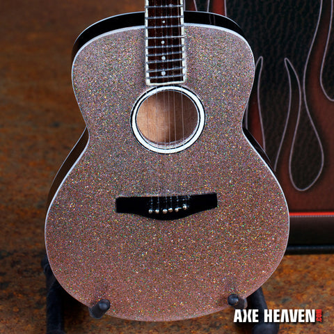 Taylor Swift Glitter Rhinestone Acoustic Miniature Guitar Replica Collectible