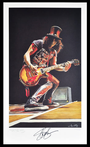 Slash Lithograph by Ron Bailey - Limited Edition - Autographed by Slash